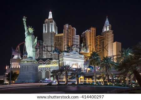 LAS VEGAS - SEPTEMBER 8: New York-New York hotel casino with a replica of New York City skyline with skyscraper towers and Statue of Liberty on September 8, 2010 in Las Vegas, Nevada, USA  - stock photo