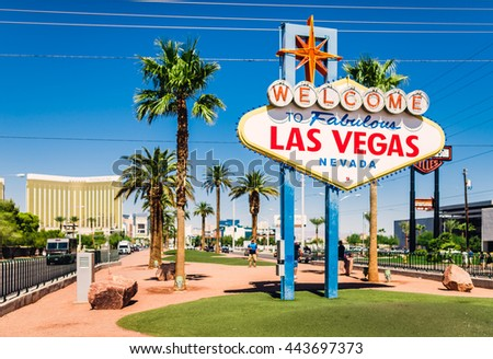 LAS VEGAS - SEPTEMBER 20: The Welcome to Fabulous Las Vegas sign is shown on September 20, 2015 in Las Vegas. Landmark funded in May 1959 and erected soon after by Western Neon. - stock photo