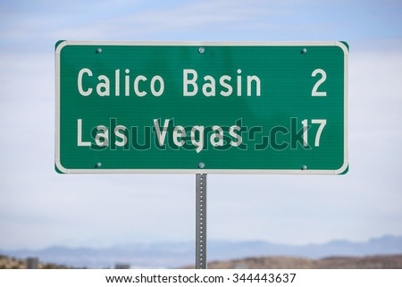 Las Vegas seventeen miles highway sign.   - stock photo