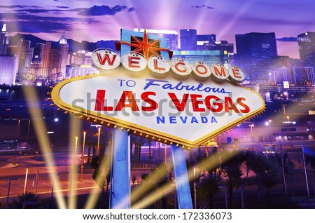 Las Vegas Showtime Concept. Illuminated City and Vegas Strip Welcome Sign. Famous City of Las Vegas, Nevada, United States. - stock photo