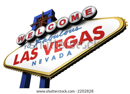 Las Vegas Sign, viewed from Below - stock photo