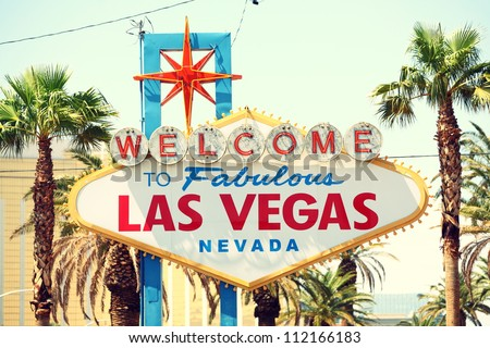 Las Vegas sign. Welcome to Fabulous Las Vegas, Nevada sign. Retro vintage style. - stock photo