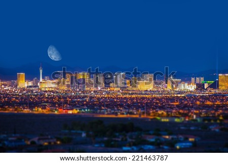 Las Vegas Strip and the Moon. Las Vegas Panorama at Night. Nevada, United States. - stock photo