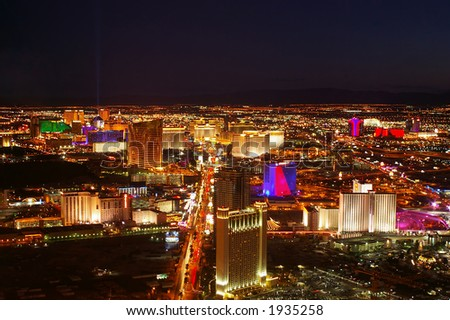 Las Vegas strip at night as seen from the north end. - stock photo