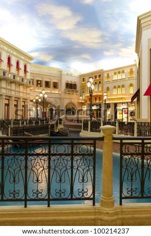 LAS VEGAS, US - APRIL 10:Inside the Venetian Resort Hotel Casino on April 10, 2012 in Vegas, US. A Venetian is part of the largest 5 star hotel resort with 4049 suites 4059 hotel rooms 11000sqm casino - stock photo