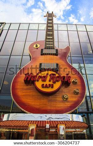 LAS VEGAS, US - JULY 7 2015: Sign of the Hard Rock Coffee  in Las Vegas Strip  US. Besides casinos and hotels, there are many attractions in The Strip as the Hard Rock Coffee. - stock photo