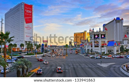 LAS VEGAS, US - OCTOBER 11: Las Vegas Strip at sunset on October 11, 2011 in Las Vegas, US. 19 of the 25 largest hotels in the world are on the Strip - stock photo