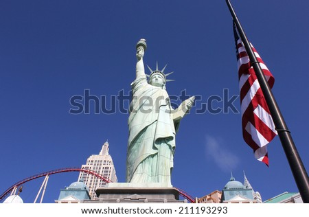 LAS VEGAS, US - September 11, 2012 - The statue is a replica of the original Statue of Liberty and stands outside the New York New York Hotel in Las Vegas, Nevada  - stock photo