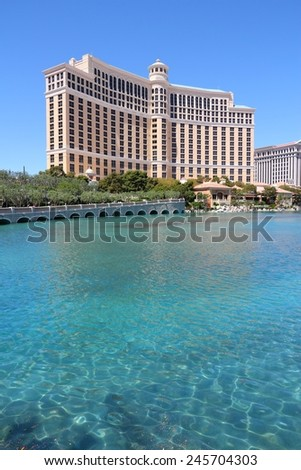 LAS VEGAS, USA - APRIL 14, 2014: Bellagio hotel view in Las Vegas. It is among 15 largest hotels in the world with 3,950 rooms. - stock photo