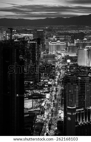 Las Vegas, USA - January 6: Sunset view from the Stratosphere Tower in Las Vegas, Nevada on January 6, 2014.  - stock photo