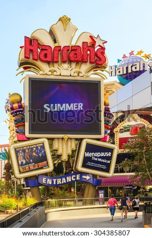 LAS VEGAS USA - JULY 7, 2015 - A Nebraska businessman lost $127 million in a single year at Harrah's owned properties, accounting for 5.6 percent of their gambling revenue that year, opened in 1973  - stock photo