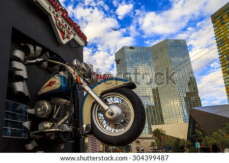 LAS VEGAS, USA - JULY 6, 2015: Harley Davidson Cafe on Las Vegas Strip. In the facade there is a 7.1:1 scale replica Sportster weighing 1,200 lbs and measuring 32 feet. - stock photo