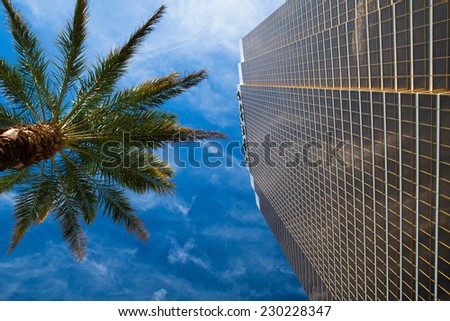 Las Vegas,USA - JULY 11,2011: The Trump hotel Las Vegas.This 64 story hotel has exterior windows coated in 24 carat gold.  - stock photo