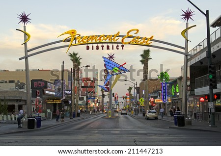 LAS VEGAS, USA - JUNE 26, 2014: Fremont Street and famous vintage neon lights in downtown Las Vegas, NV, on June 26, 2014 - stock photo