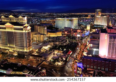 LAS VEGAS, USA - MARCH 18: Aerial view of Las Vegas strip on March 18, 2013 in Las Vegas, USA. Las Vegas is one of the top tourist destinations in the world. - stock photo