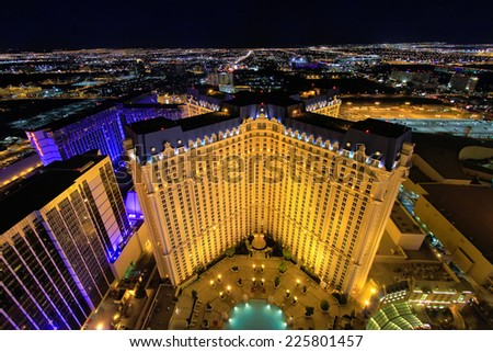 LAS VEGAS, USA - MARCH 18: Aerial view of Monte Carlo hotel and casino at night on March 18, 2013 in Las Vegas, USA. Las Vegas is one of the top tourist destinations in the world. - stock photo
