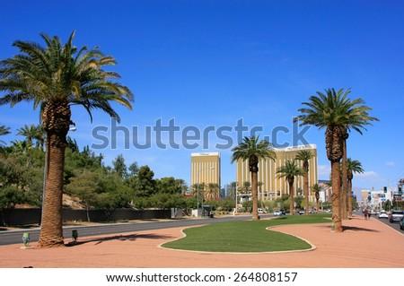 LAS VEGAS, USA - MARCH 19: Las Vegas Boulevard on March 19, 2013 in Las Vegas, USA. Las Vegas is one of the top tourist destinations in the world. - stock photo