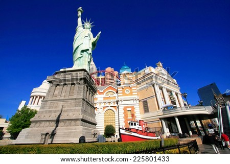 LAS VEGAS, USA - MARCH 18: New York - New York hotel and casino on March 18, 2013 in Las Vegas, USA. Las Vegas is one of the top tourist destinations in the world. - stock photo