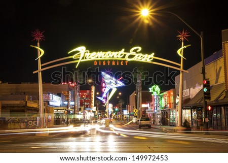 LAS VEGAS USA - OCTOBER 1, 2012: Fremont East District Entrance located just opposite to Fremont Street Experience on The Las Vegas Strip. Tourist attraction for 50 millions people every year. - stock photo