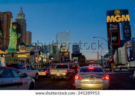 LAS VEGAS, USA - OCTOBER 7: Las Vegas Boulevard by night on October 7, 2014 in Las Vegas. Six of the world's ten largest hotels are situated on Las Vegas Boulevard. - stock photo