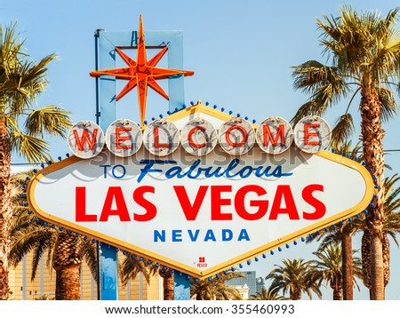 LAS VEGAS, USA - SEPTEMBER 11: LV sign on September 11, 2015 in Las Vegas, United States. It is an renowned major resort city known primarily for gambling, shopping, fine dining and nightlife. - stock photo