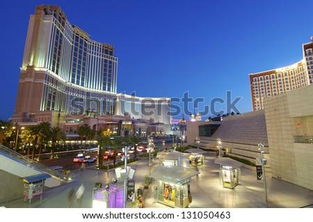LAS VEGAS, USA - SEPTEMBER 1: Night on September 1, 2007 in Las Vegas: night view of Las Vegas Boulevard, are two of the most famous casinos Palazzo and Treasure Island. - stock photo