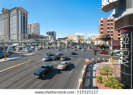 LAS VEGAS, USA - SEPTEMBER 21: The Las Vegas Strip on September 21, 2011 in Las Vegas. The Las Vegas Strip is about 4.2 miles (6.8 km) section of Las Vegas Boulevard South in Clark County, Nevada - stock photo
