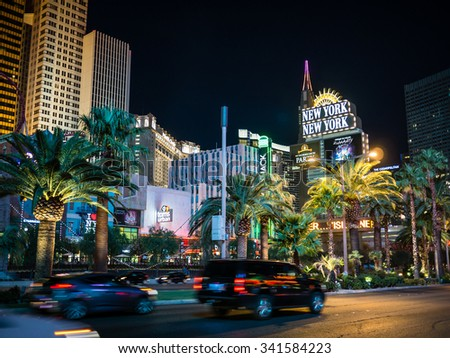 LAS VEGAS, USA - SEPTEMBER 08: Unidentified tourists in the strip on September 08, 2015 in Las Vegas, USA. It is a major resort city known primarily for gambling, shopping, fine dining and nightlife. - stock photo