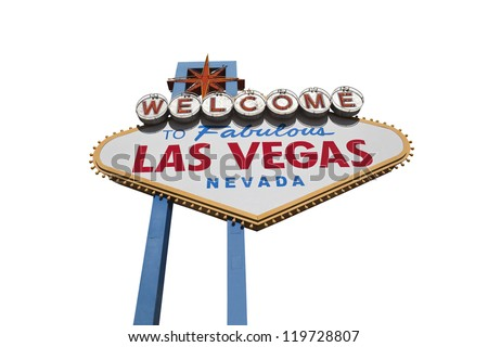 Las Vegas welcome sign isolated with clipping path. - stock photo