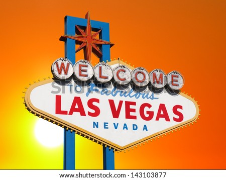 Las Vegas welcome sign with sunset sky. - stock photo