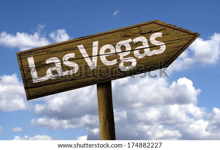Las Vegas wooden sign on a beautiful day - stock photo