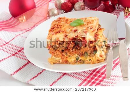 Lasagna for Christmas - stock photo