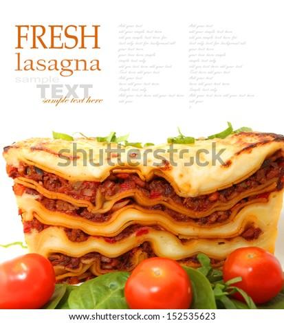 lasagna isolated on white  - stock photo