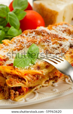 lasagna on dish - stock photo