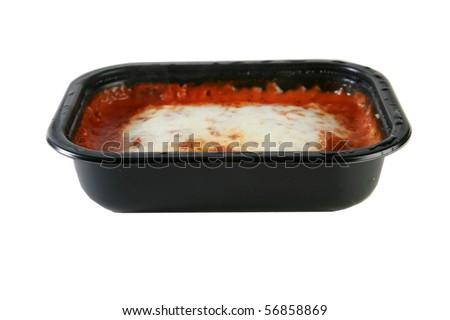 Lasagna tv dinner, isolated on white - stock photo