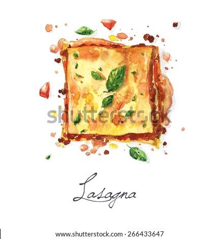 Lasagna - Watercolor Food Collection - stock photo
