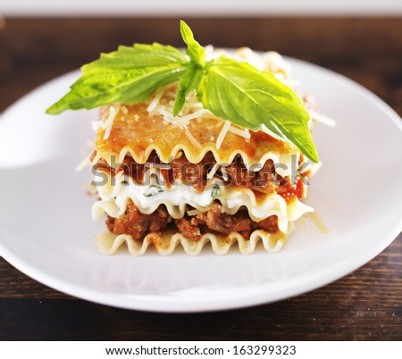 Lasagna with meat sauce and ricotta cheese - stock photo