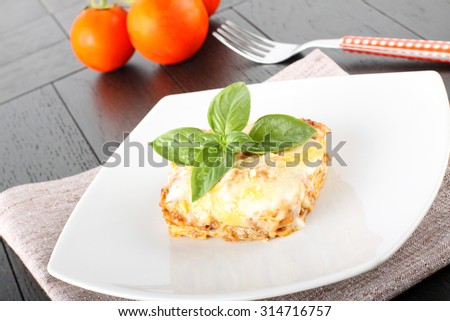 Lasagne with meat and bechamel on complex background - stock photo