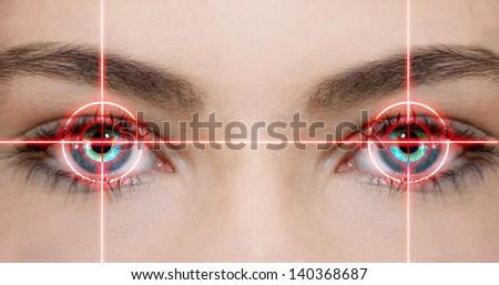 Laser eyes - stock photo