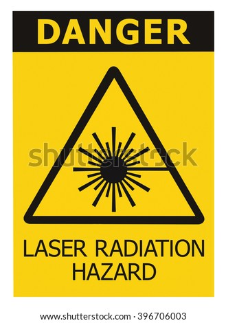 Laser radiation hazard safety danger warning text sign sticker label, high power beam icon signage, isolated, black triangle over yellow, large macro closeup  - stock photo