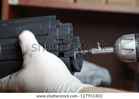 laser toner cartridge refill - stock photo
