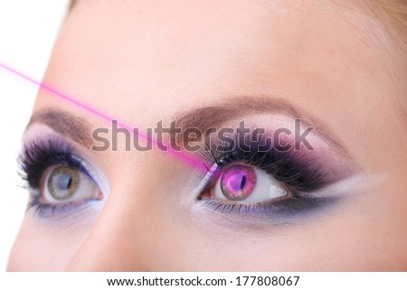 Laser vision correction. Woman's  eyes. - stock photo