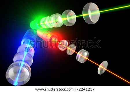 Lasers - Optics and light RGB The transition color laser beam through lens group - stock photo