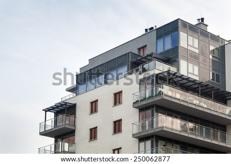 Last floors of modern apartment building - stock photo