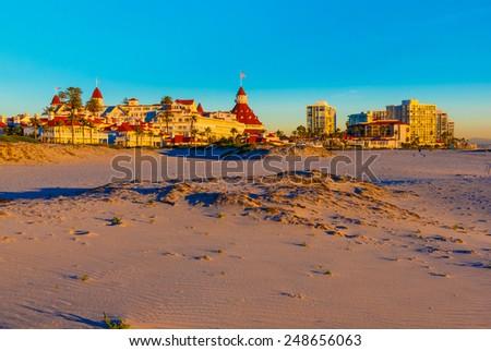 Last Light Illuminates The Sand Dunes And Skyline Of Coronado Island San Diego, California - stock photo