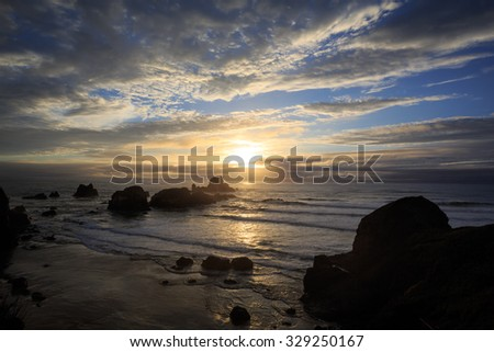 Last Light On The Pacific Ocean - stock photo