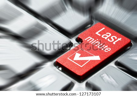 Last minute button on the computer keyboard - stock photo