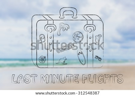 last minute flights: baggage with mixed summer holiday inspiration stickers - stock photo