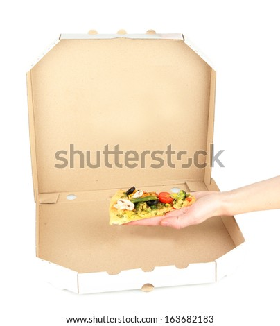 Last slice of tasty vegetarian pizza in box, isolated on white - stock photo
