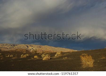 Last sun light near Ubehebe Crater, Death Valley, California - stock photo
